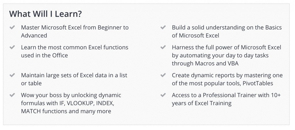 best excel course on udemy in 2018 top 5 reviews