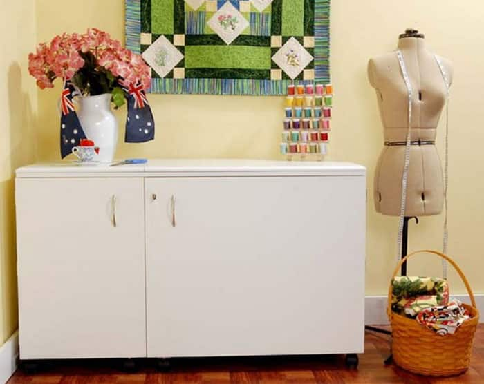 Kangaroo Kabinets Aussie Studio WHITE Sewing Cabinets with Air Lift