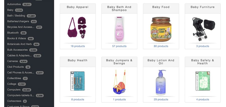 Wholesale2B searching baby products