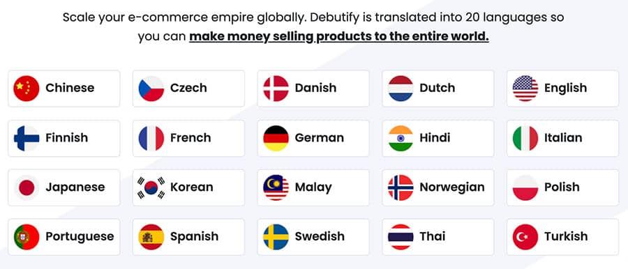 20 languages Free-Shopify-Theme-Debutify