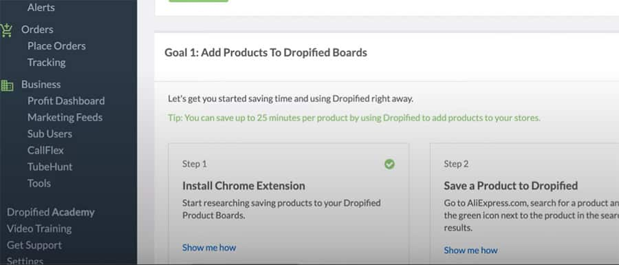 dropified dashboard chrome extension install